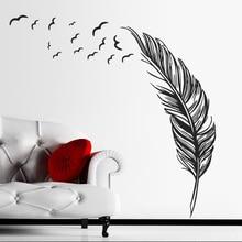 Adhesivo creativo para pared de plumas y pájaros voladores, tatuaje moderno para el hogar, dormitorio, sala de estar, decoración artística, adhesivo de vinilo para pared