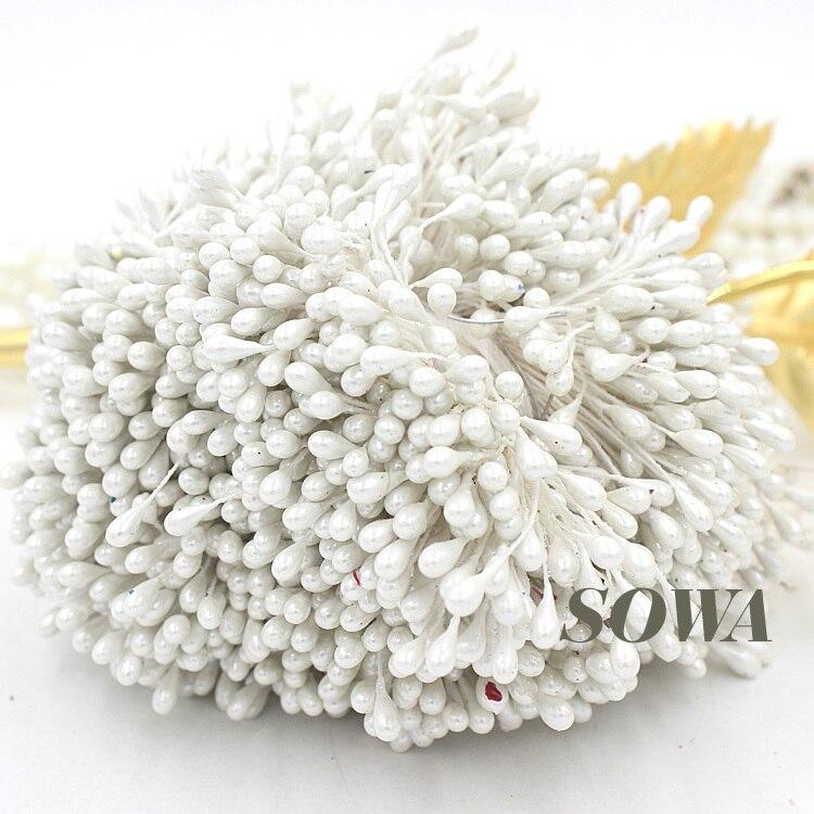 Envío gratis de alta calidad de 3mm 900 unids/lote doble cabezas de Color blanco perla de flor estambre pastel o decoración de la boda de DIY