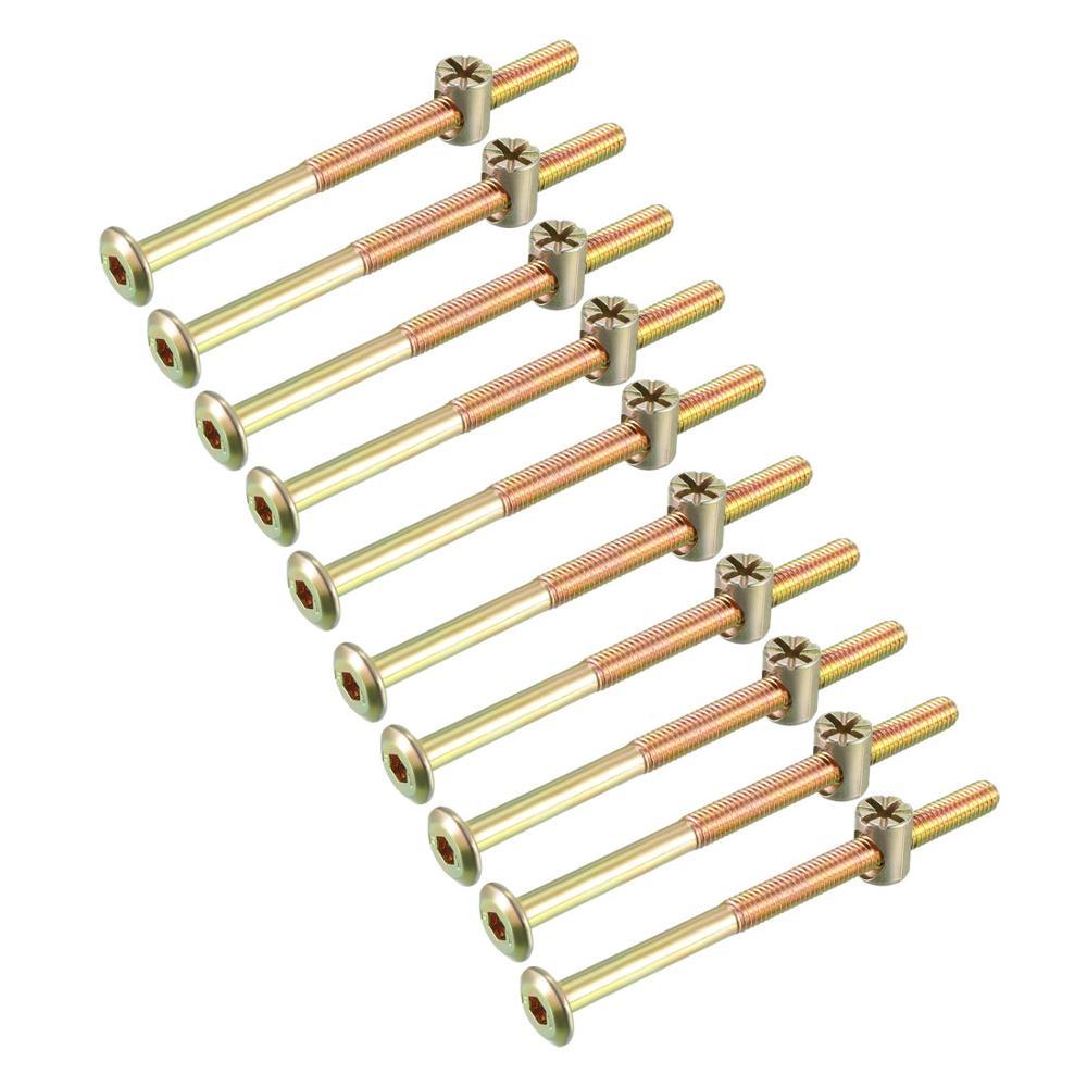 Juego de 10 tuercas de perno uxcell para muebles, tornillo con cabeza hexagonal con tuercas de barril Phillips M6x80 M6x90 M6x100 M6x120
