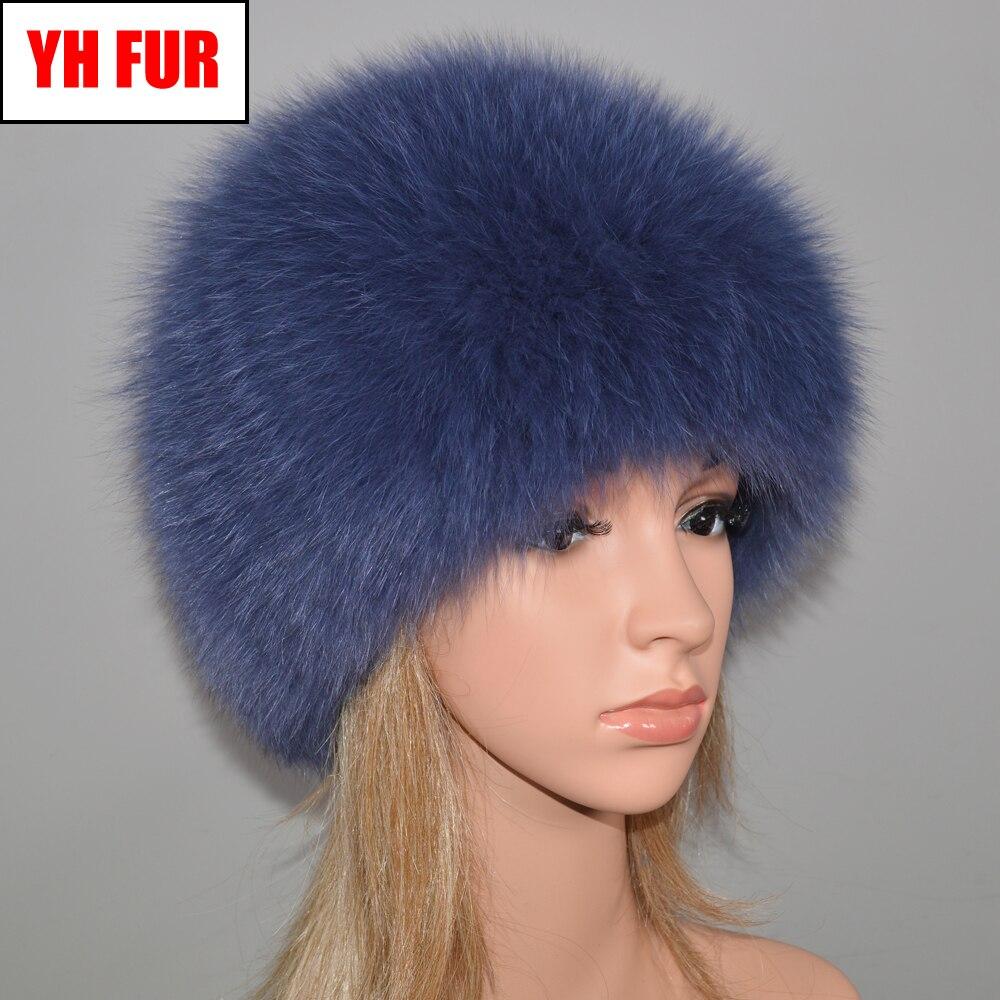 Women Winter Natural Real Fox Fur Hat Elastic Warm Soft Fluffy Genuine Fox Fur Cap Luxurious Quality Real Fox Fur Bomber Hats