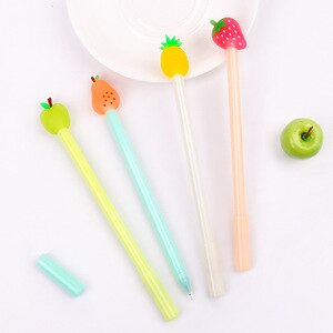 24 Pcs Korean Creative Stationery Lovely Small Fresh Fruit Pie Neutral Pen Full Needle Tube Black Signature  Kawaii Pen