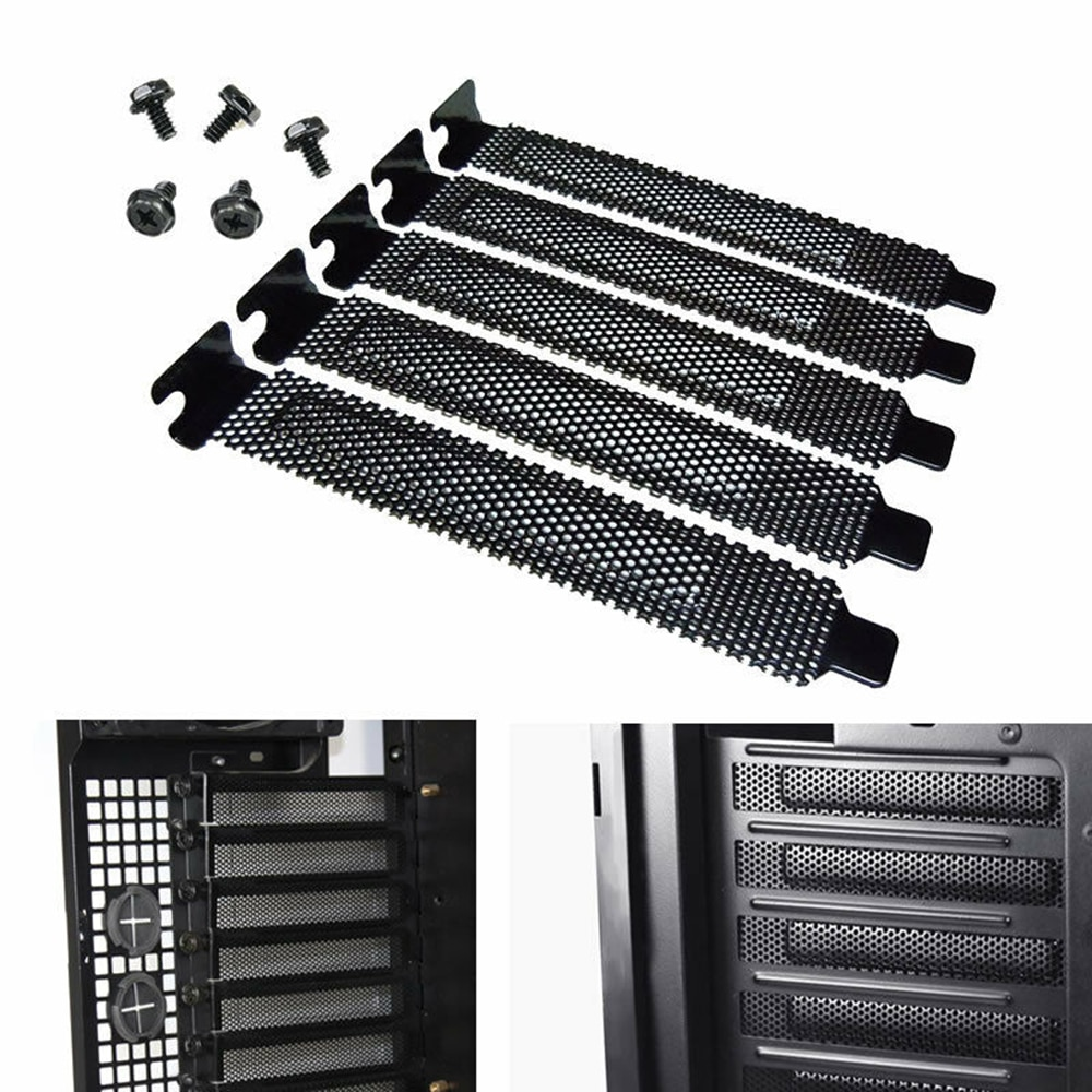 5Pcs PCI Slot Cover Dust Filter Blanking Plate Hard Steel With Screws Desktop PC Case Bezel Bit Expansion Plug-In Freeshipping