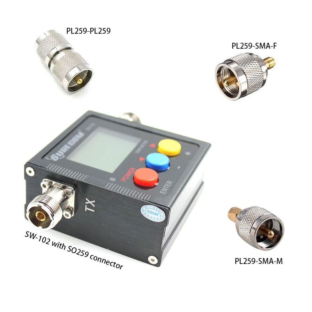 SURECOM SW-102 с тремя адаптерами 125-520 МГц цифровой VHF/UHF измеритель мощности и КСВ для автомобильного радио и hendheld радио SW102, 2019