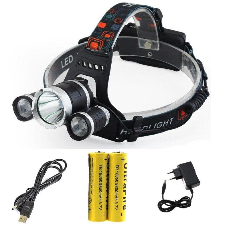 5000 Lumen RJ-5000 3T6 USB faro 3xCREE XM-L T6 Camping LED Faro de bicicleta Luz de Flash + 18650 batería + USB y cargador de CA