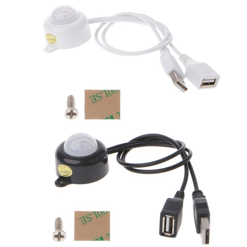 Interruptor de tira de luz LED USB DC5-24V interruptor de Sensor de movimiento PIR infrarrojo de cuerpo humano #0604