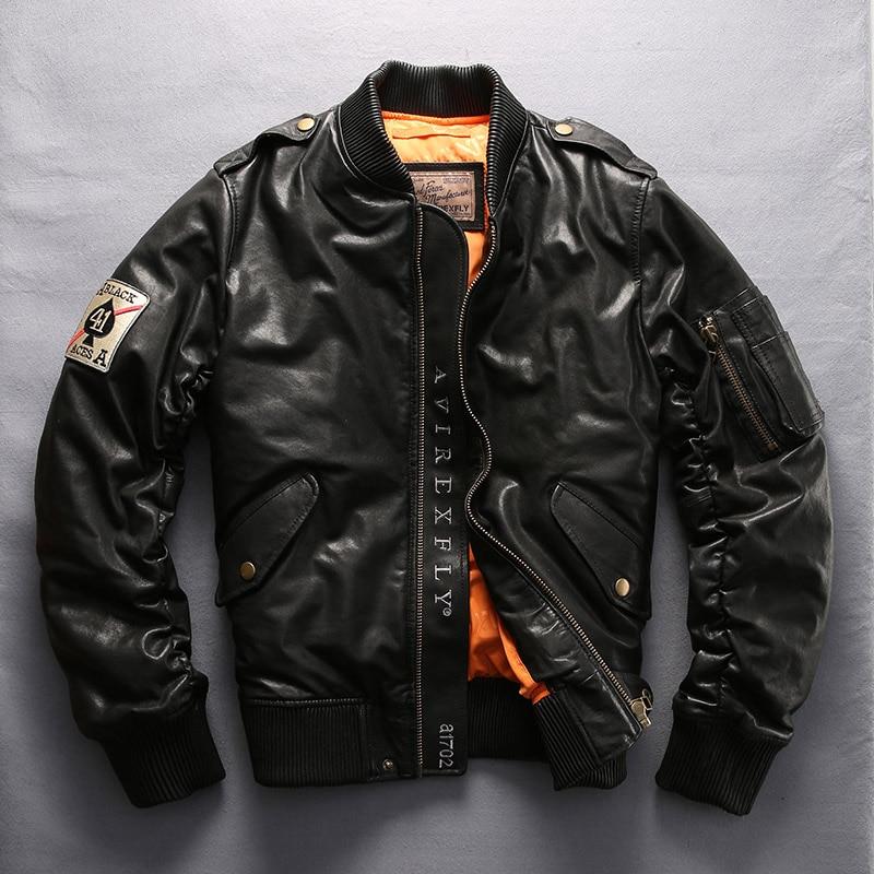 Factory 2018 New Men Genuine Leather Down Coats Avirex fly Fashion Sheepskin Pilot Jackets Winter Russia Coats