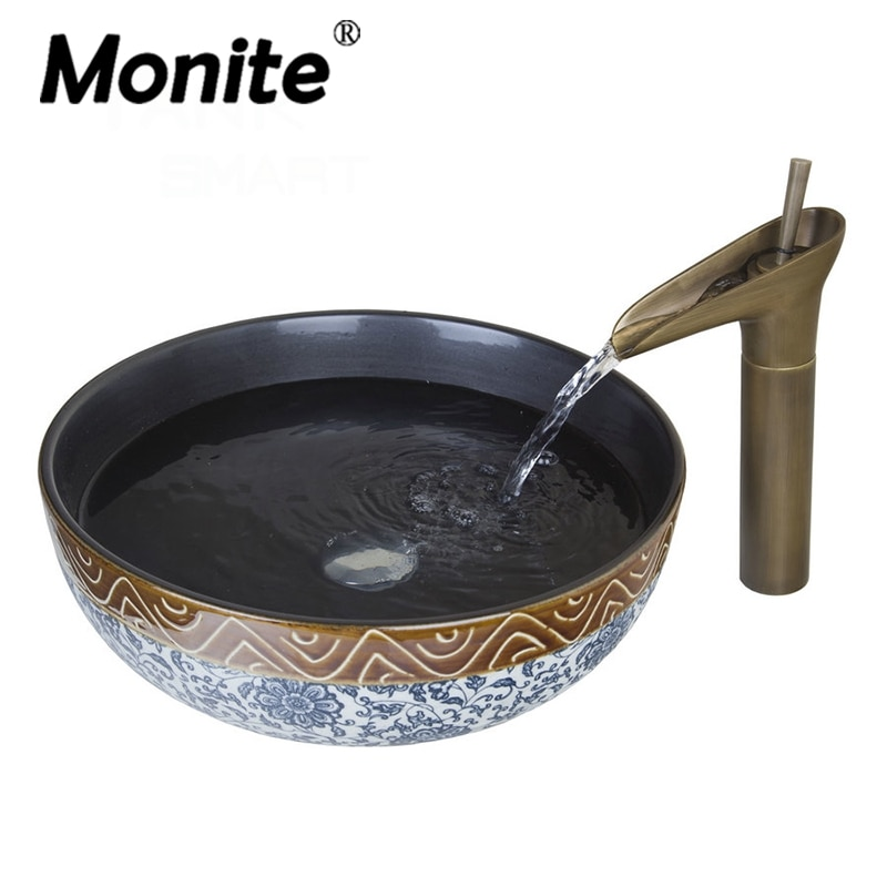 Monite Art-حوض حمام عتيق ، مجموعة حوض سيراميك دائري مع صنبور شلال أسود من الداخل