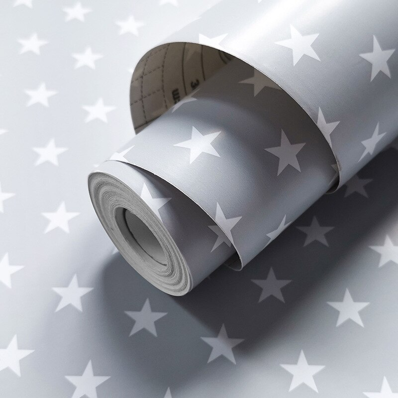 Cinza estrela dos desenhos animados papel de parede auto adesivo para kidsbedroom rosa amarelo gird ins adesivo de parede