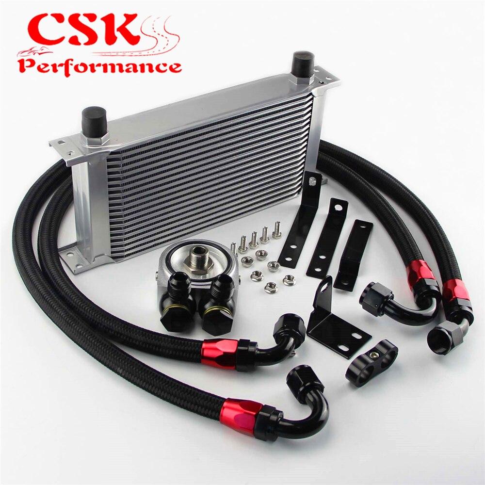 Enfriador de aceite de motor de aluminio de 19 filas con adaptador de filtro compatible con Honda S2000 F20 F22 negro/plata
