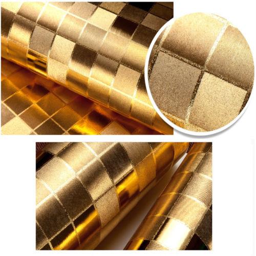 Q QIHANG 10m papel pintado moderno de lujo de papel de aluminio dorado lentejuelas grandes fondo de mosaico parpadeo 5.3m2