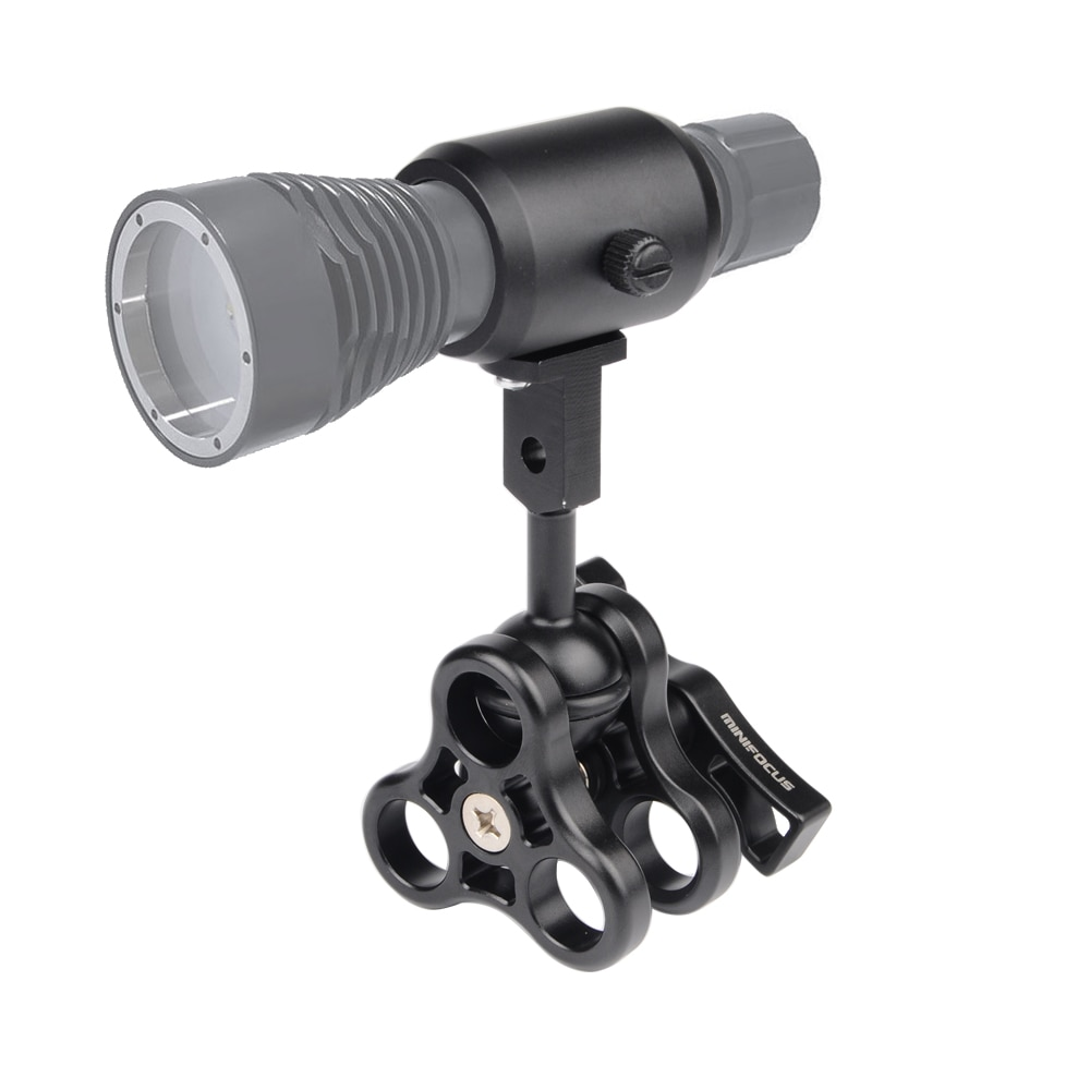 MINIFOCUS, soporte para linterna de buceo, adaptador de brazo estroboscópico, montaje de bola con abrazadera de 3 orificios para fotografía subacuática