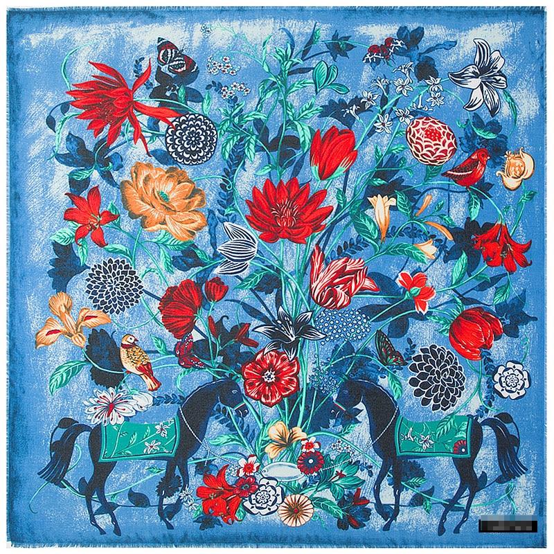 Hot! beautiful Scarf   130*130cm Women New Fashion Twill Silk Flower horse pattern  Square  high quality Fashion shawl
