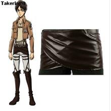 Кожаная юбка Takerlama для косплея «атака на Титанов», «Shingeki no Kyojin», костюм с ремнем с капюшоном, юбка из шоколадной кожи с фартуком