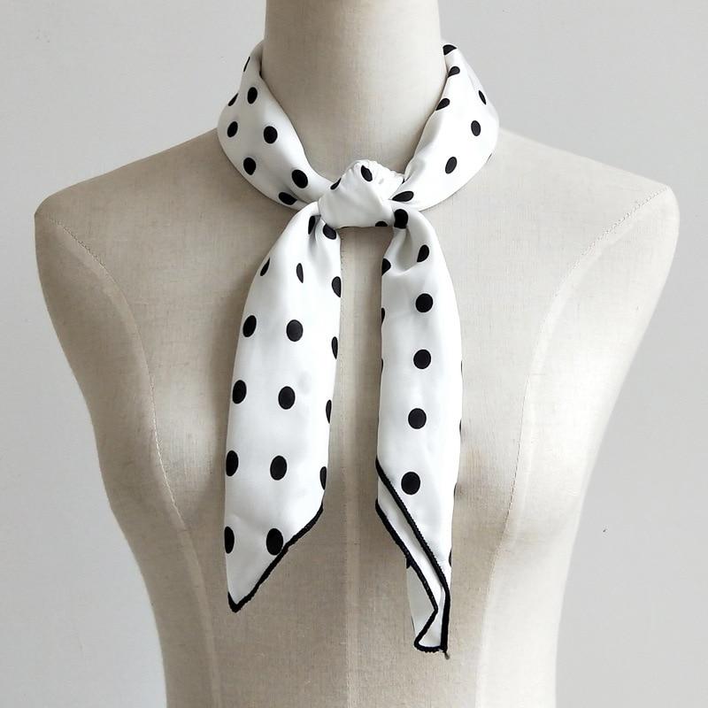 Designer Scarf Women Luxury 2018 Polka Dot Silk Scarf Women White Square Fashion Large Brand Silk Neck Scarf Hair Wrap Headchief