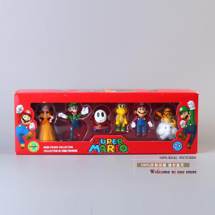 Figuras de super mario bros, mario luigi koopa, princesa, margarida, pvc, bonecas de brinquedo, 6 de pçs/set, novo na caixa de varejo