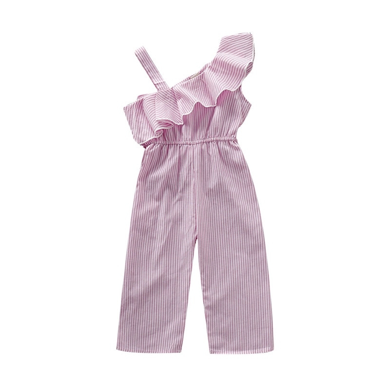 Monos con volantes de un hombro de verano para niñas lindas, pantalones largos a rayas informales para niños pequeños, monos de algodón para niños