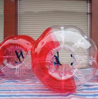 Metade Metade Vermelha Clara Inflável Bumper Ball 1.7M Dia 1.0 MILÍMETROS TPU Zorb Corpo Inflável Bolha de Futebol Para Adultos bola/Bola de Hamster