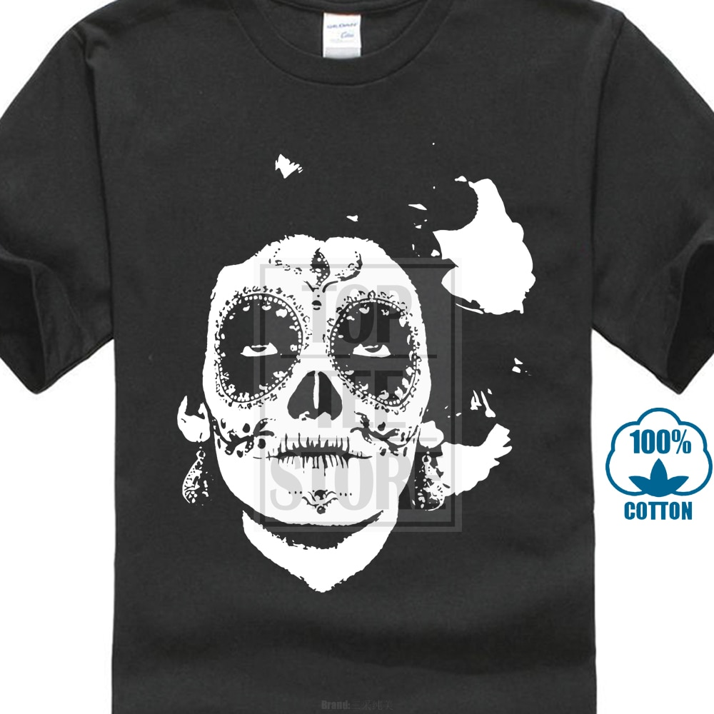 La Calavera De La Catrina Print Men Black White T-Shirt Mexico Style Short Sleeve O Neck Cotton T Shirts Skull Cartoon Design