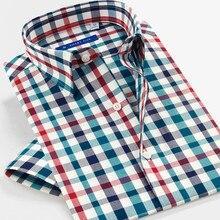 Cinco inteligentes camisas 100% algodón para hombres 2017 verano Casual Camisa de manga corta de alta calidad a cuadros camisas para hombre SFS5A315