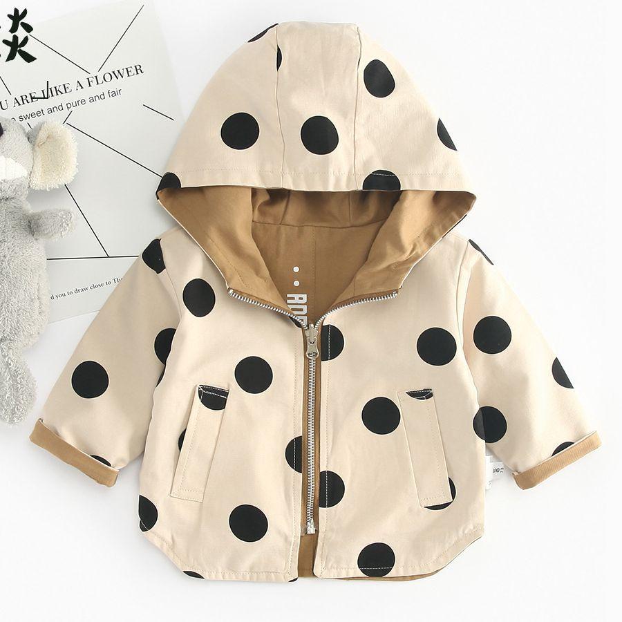 Girl coat Autumn new Tide Korean  children's hooded top baby wave dot both sides wear windbreaker toddler baby boy girl clothes