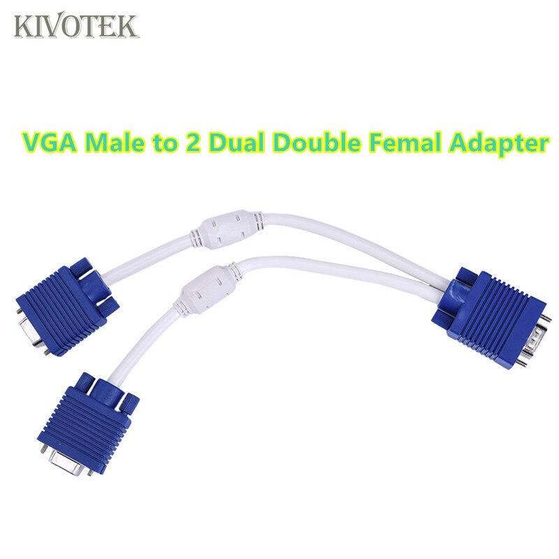 3 pçs/lote Split Converter VGA Para 2 Dupla Vga Fêmea Cabo Conversor Adaptador Splitter vga 15 Pin PC SVga Masculino para 2 Dupla dupla VGa