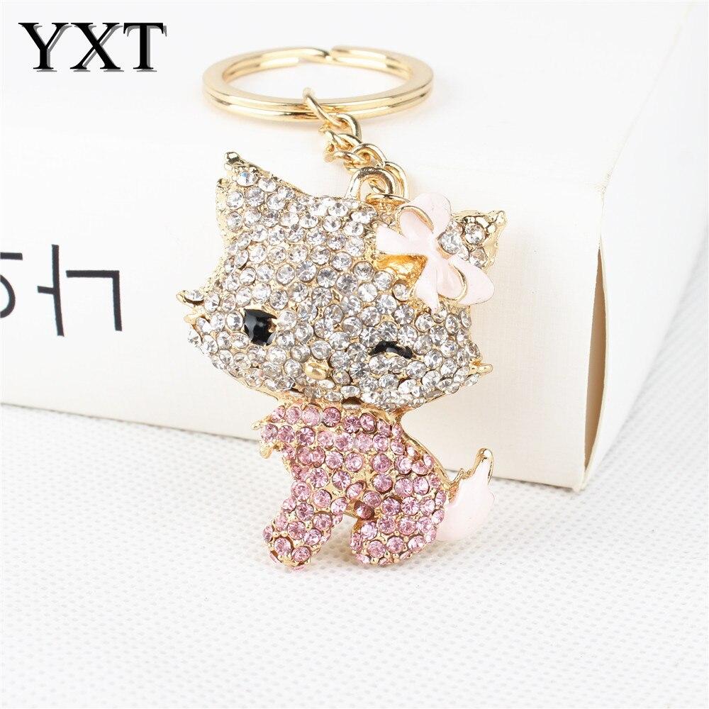 Fashion Lovely Cat Pink Bowknot Crystal Charm Purse Handbag Car Key Keyring Keychain Party Wedding Birthday Gift