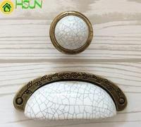 3 75 dresser pull drawer knob pulls handles metal ceramic white crackle antique bronze kitchen cabinet pulls handle knob 96mm