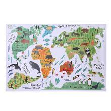 ALLOYSEED Bunte Tier Welt Karte Wand Aufkleber Abnehmbare PVC Tapete Kinder Schlafzimmer Aufkleber Kindergarten Poster Hause Dekoration