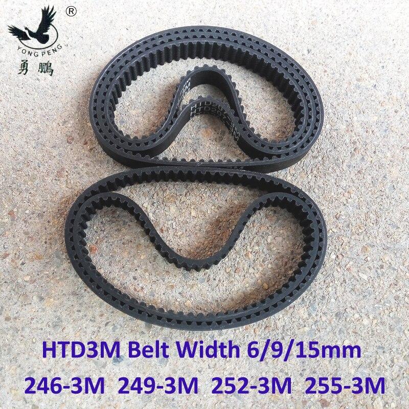 HTD de 3M momento de la longitud de la correa 246, 249, 252, 255 de ancho 6/9/15mm dientes 82 83 84 85 HTD3M polea síncrona 246-3-249-3-252-3-255-3-M