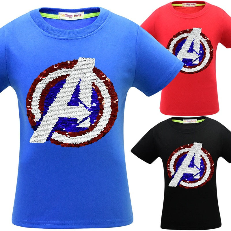 Kinder Junge Avengers Endgame Magie Glitter Reverse Pailletten Top Mädchen sommer spinne mann T-shirts Big Boy Fancy Lustige t-shirts kleidung