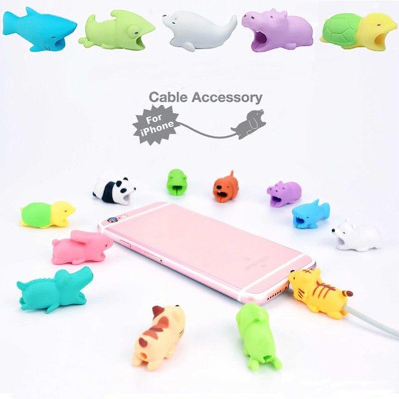Lindo Animal 37 estilo mordida de cable protectores de cables bromas prácticas para IPhone enrollador teléfono accesorio organizador broma juguete