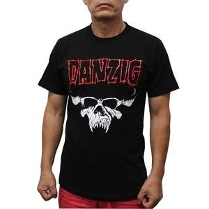 Fashionshow-JF Summer Shirt Cotton Hight Quality Man T Shirt Danzig Skull Logo Short Sleeve Crew Neck Regular Top Tees For Men