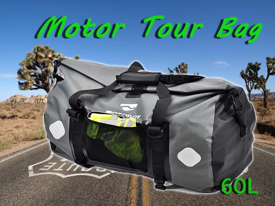 Motoboy Motorcycle Riding Waterproof Tour Bag Biker Motorcycle Seat Bags Black PVC 60L Motor Travel Waterproof Bag Rear