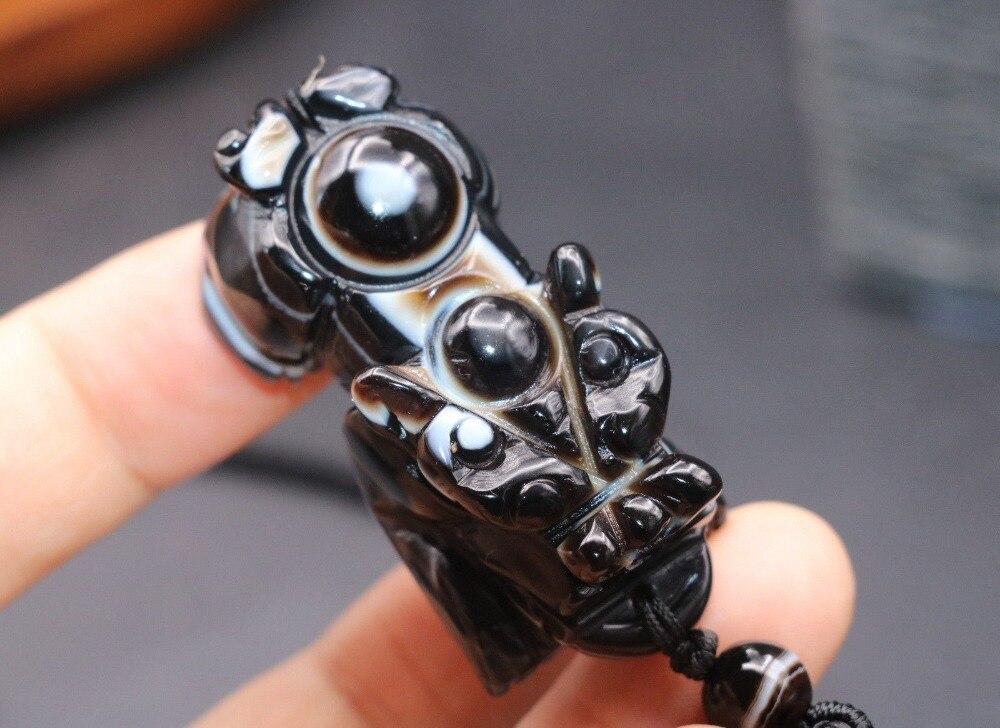 Poderoso y coleccionable amuleto tibetano de ónix envejecido, dios de la riqueza Pi Xiu Yao, gran colgante, LKbrother para hacer joyería DIY