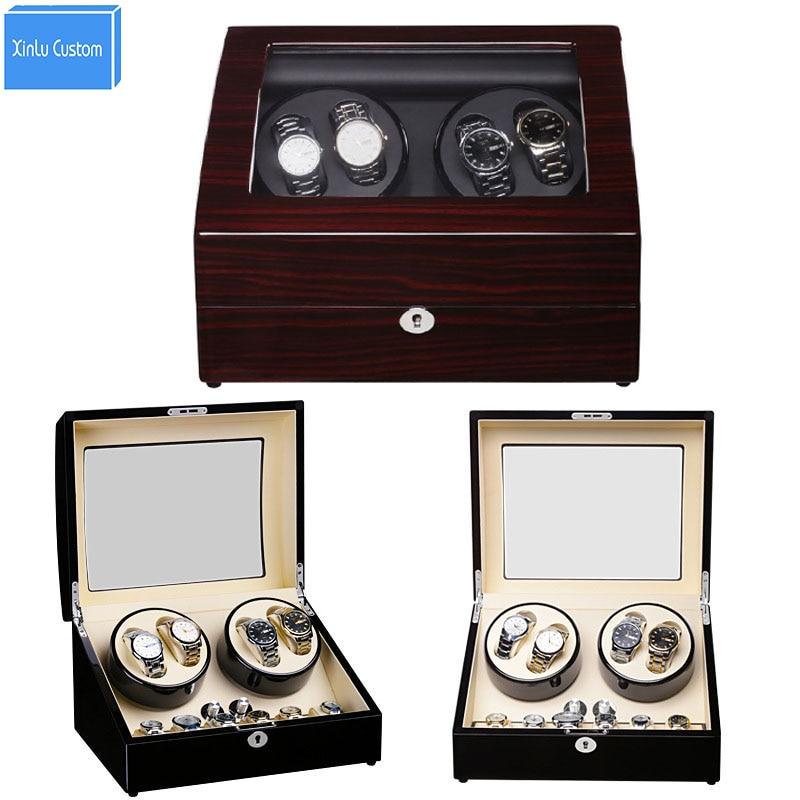 Luxury Wood/Leather Watch Winder with Lock/Plug Watch Rotary 4+6 Grid Watch Rotator Box Quality Accessories Japan Mabuchi Motor