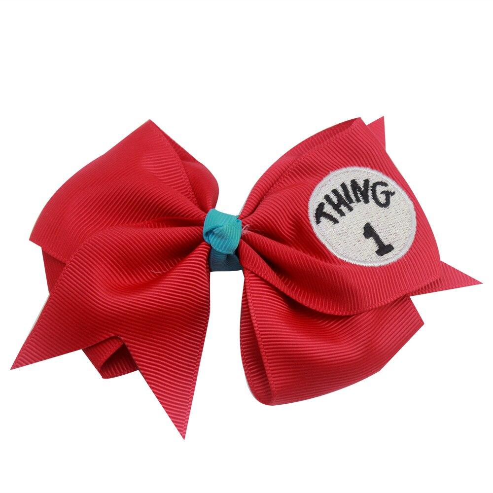 3 inch Dr Seuss Things1 2 3Lovely soild Hair Bows embroidery Grosgrain Ribbon Bows For girls Handmade Hair Clip Hair Accessories
