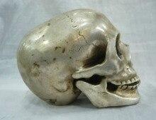 Statue de tête de mort en argent   À collectionner, décoration de crâne du tibet, netsuke en livraison gratuite