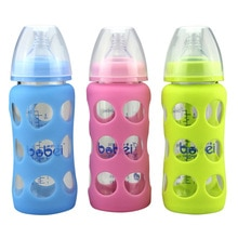 Fournitures de marque maternelle et enfant 240ml   Verre et diamant en cristal calibre large avec manche Anti-chute en Silicone, bouteille de bébé M0