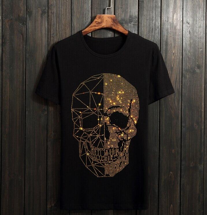 Sommer Top Mens Schädel Strass T Shirts Modale Baumwolle O Hals Kurzarm Schlanke T-shirt f544