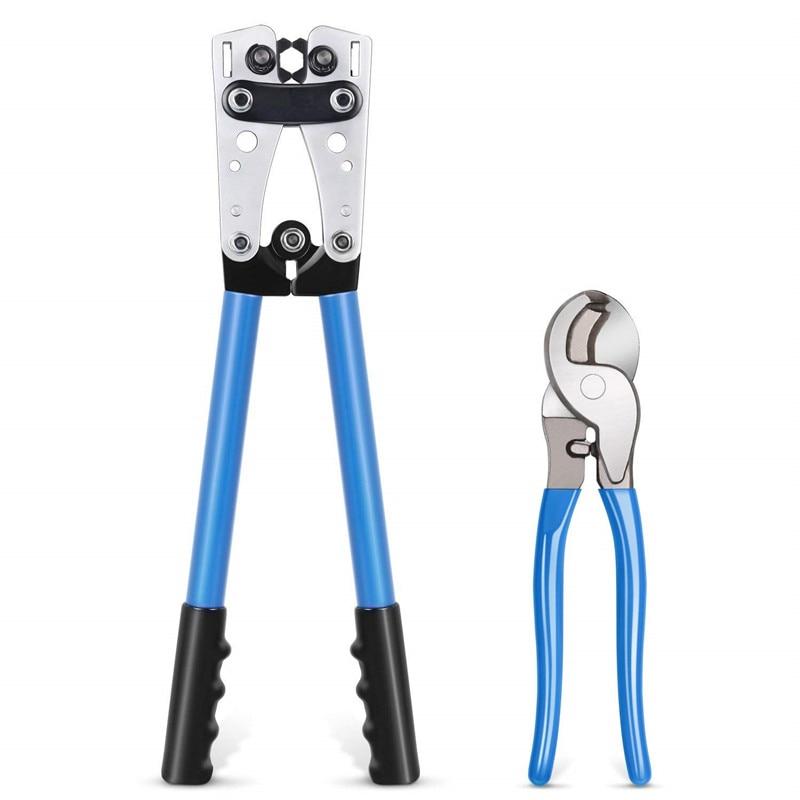 Herramientas de prensado de terminales de cable, alicates de crimpado de terminales de trinquete manual para 6-50 mm2 1-10AWG, cable de cizalla para alambre