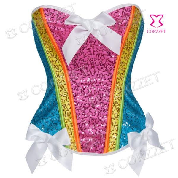 Rainbow Color Lantejoulas Mulheres Sexy Corset Corpete gótico Espartilho Bustier Top Overbust Push Up Cintura Corsets Trainer Para Venda