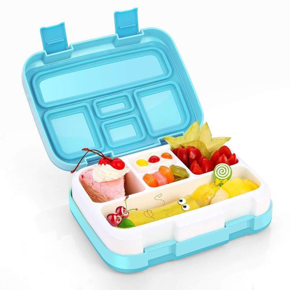 Fiambrera portátil con cuatro rejillas y cinco compartimientos para microondas, contenedor de comida para estudiantes, caja de almacenamiento de alimentos a prueba de fugas con cierre múltiple