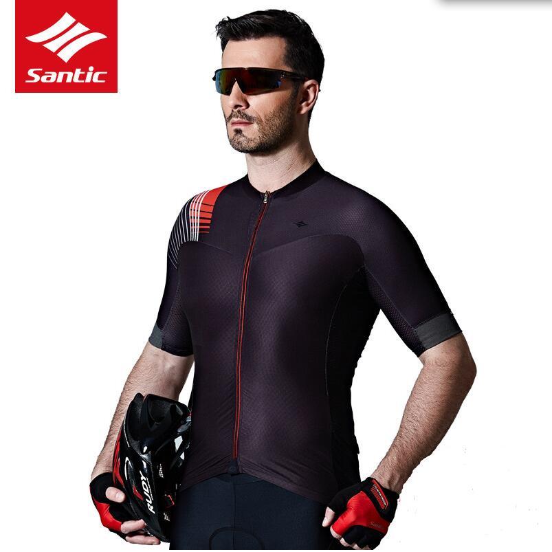 Santic-Camiseta de manga corta para ciclismo, de 2020, tela italiana acolchada y reflectante para el verano, para hombre