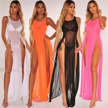 Women Mesh Sexy Sheer Bikini Cover up Elegant Transparent split Beach Dress Swimsuit Swimwear Playa tunic kaftan Beachwear
