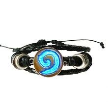 WoW World of Warcraft Hearthstone verre rond charme bracelet en cuir bijoux chaîne bracelet bleu hommes bijoux femmes cadeau