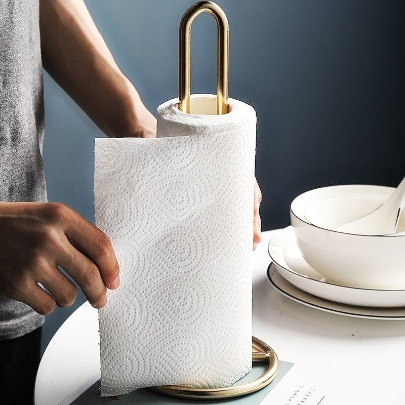 Nórdico claro de lujo de hierro de papel toallero ornamentos comedor Mesa cocina baño rollo titular grueso estante de almacenamiento de papel de pie