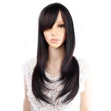 Perruque synthétique Blonde Ombre naturelle noire-Amir   Perruque lisse et longue pour femmes, perruques de Cosplay frange soignées