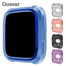 Gosear TPU translúcido a prueba de polvo antiarañazos protector de reloj inteligente funda protectora carcasa para Fitbit Versa Fit Bit Gadget