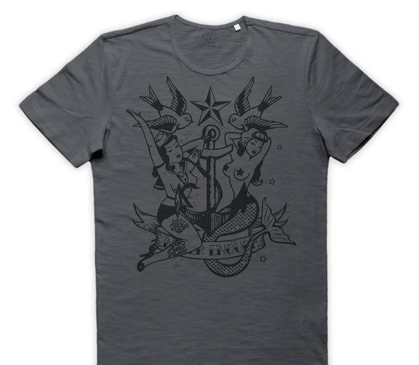 Maglietta velha escola tatuagem maglia pino do vintage up sirena ancora legal t camisa homem roupas topos hipster moda