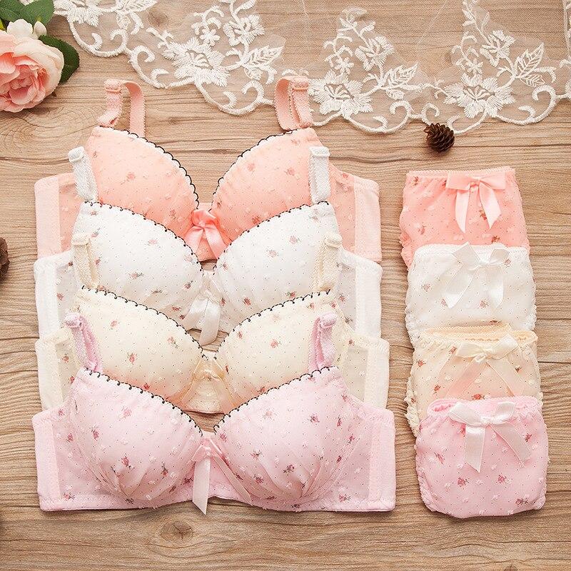 Conjunto de ropa interior de algodón para niñas en la pubertad con encaje y puntos, sujetador, ropa interior para adolescentes, sujetador pequeño de pecho para chicas adolescentes